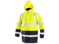 High visible jacket padded parka OXFORD, high visible, men´s, yellow-blue