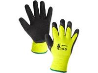 Rukavice ROXY WINTER, zimní, máčené v latexu, černo-žluté, vel. 10