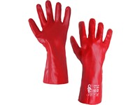Gloves SELA, dipped in PVC,red , size 10