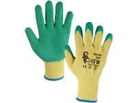 Gloves ROXY, dipped in latex,yellow-green