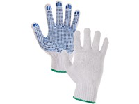 Gloves FALO, textile, with PVC dots, white-blue, size 9