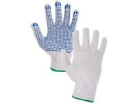 Textilní rukavice FALO, s PVC terčíky, bílo-modré, vel. 09