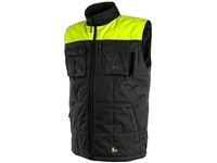 Padded vest SEATLE, winter, fleece, men's, black-yellow