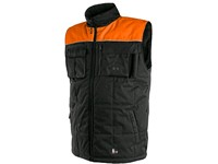 Padded vest SEATLE, winter, fleece, men's, black-orange