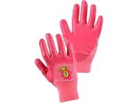 Rukavice DRAGO, dětské, máčené v nitrilu, růžové, vel. 05