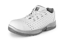 Low footwear LINDEN S1 with steel toe cap, perforated, white-grey