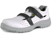 Sandal PINE O1, perforated, white-grey