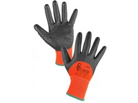 Gloves MISTI dipped to 3/4 in nitrile, orange-grey