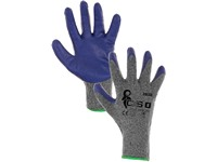 Gloves COLCA, dipped in latex, grey-blue, size L