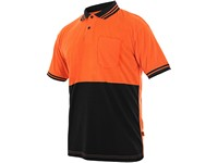 Men ́s  poloshirt LIAM, short  sleeve, orange-black