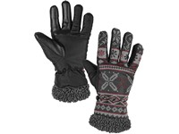 Winter gloves CXS FULLA, grey with red printing, size 8