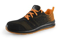 Low footwear CXS TEXLINE CRES S1, with steel toe cap, black-orange