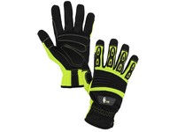 Gloves YEMA, combined, yellow-black