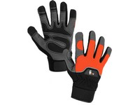 Gloves PUNO, combined, orange-black, size 9
