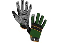 Gloves CARAZ, combined, green-black