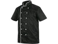 Chef´s jacket with short sleeve, men´s, black-white