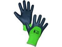 Gloves DOUBLE ROXY WINTER, winter, dipped in nitrile, black-green, size 10