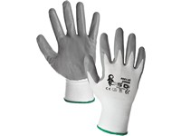 Gloves ABRAK, dipped in nitrile, white-grey