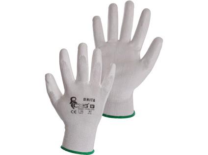 Povrstvené rukavice BRITA, bílé, vel. 08