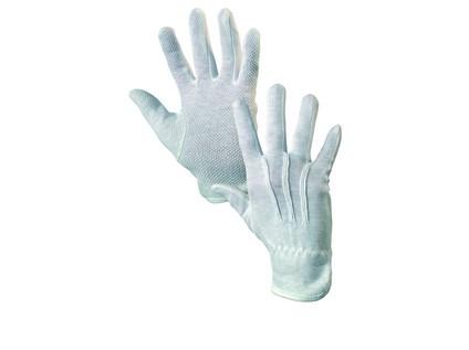 Textilní rukavice MAWA, s PVC terčíky, bílé, vel. 10
