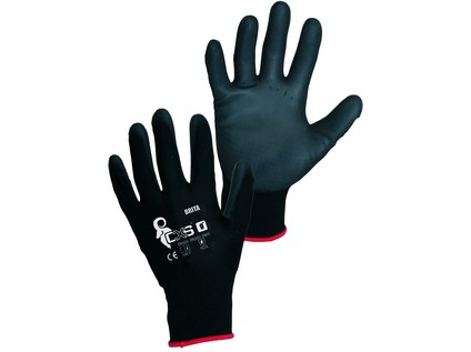 Povrstvené rukavice BRITA BLACK, černé, vel. 10