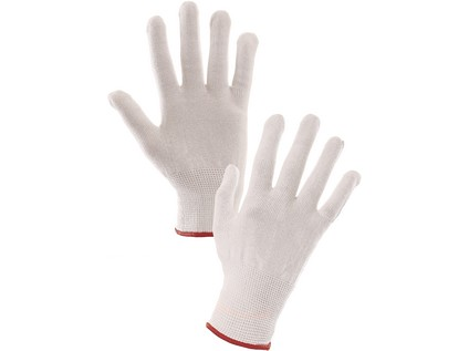 Rukavice SAWA, textilní, bíle, vel. 08