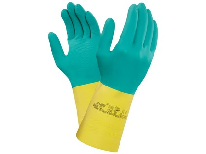 Kyselinovzdorné rukavice ANSELL BI-COLOUR, vel. 09