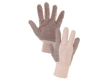 Textilní rukavice CXS GABO. s PVC terčíky. bílé. vel. 10