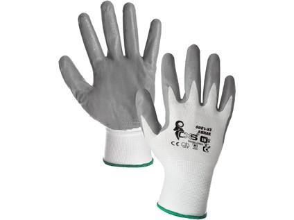 Povrstvené rukavice ABRAK, bílo-šedé, vel. 08