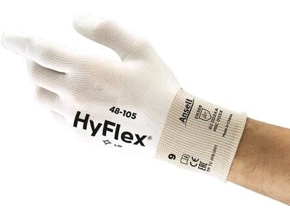 Povrstvené rukavice ANSELL HYFLEX 48-105. bílé. vel. 9