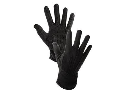 Textilní rukavice MAWA, s PVC terčíky, černé, vel. 08
