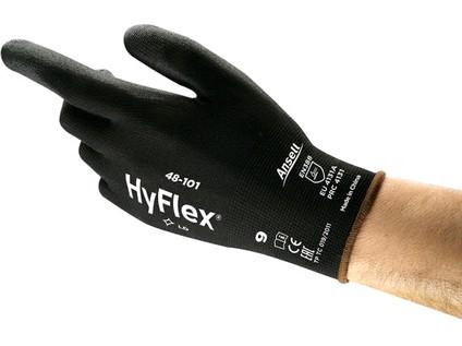 Povrstvené rukavice ANSELL HYFLEX 48-101. černé. vel. 06