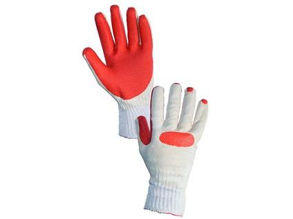 Povrstvené rukavice BLANCHE, bílo-oranžové, vel. 10