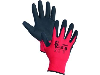 Povrstvené rukavice ALVAROS, červeno-černé, vel. 10
