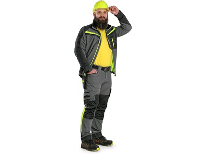 Blůza CXS NAOS, pánská, šedo-černá, HV žluté doplňky