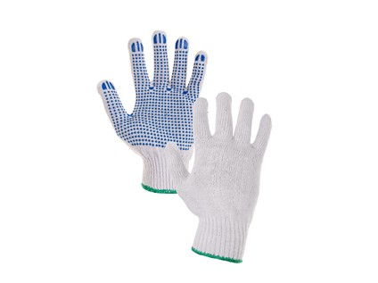 Textilní rukavice FALO. s PVC terčíky. bílo-modré. vel. 08